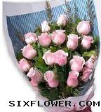 18枝粉玫瑰/远方的思念