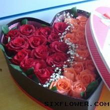 你是我的牵挂/11枝红色玫瑰:33枝玫瑰花盒/把你装在心里