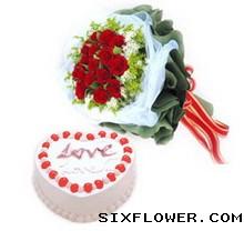 迷恋黑巧克力蛋糕:鲜花蛋糕/快快乐乐