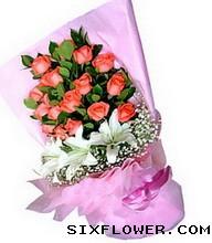 19枝粉玫瑰/陪你左右