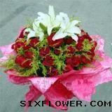 21枝红玫瑰+百合/幸福每一天
