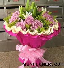 16枝紫玫瑰+百合/我的最爱
