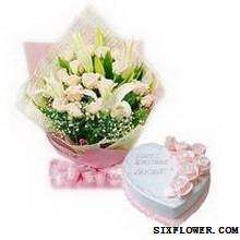 玫瑰蛋糕组合_生日快乐