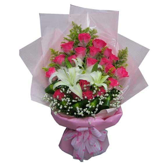 好运无限/3枝向日葵,9枝香槟玫瑰:21枝红玫瑰+百合/甜蜜情人