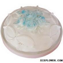 蛋糕/两两相依:圆形鲜奶蛋糕,蓝色鲜奶玫瑰花