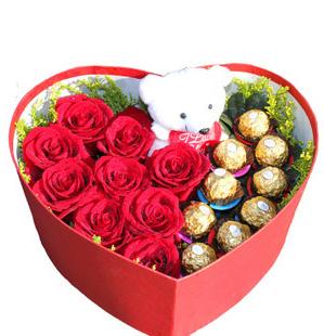 给你一个幸福的人生/20枝红色玫瑰礼盒:爱的就是你_玫瑰巧克力花盒