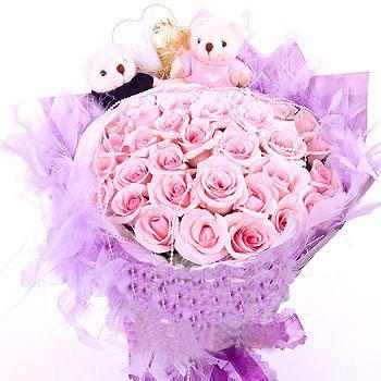想你的微笑/36枝粉玫瑰