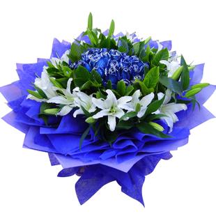 蓝色梦想_21枝蓝玫瑰+百合