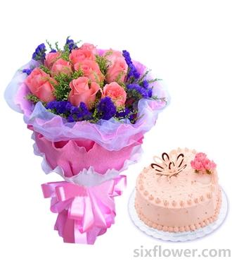 甜甜的笑/圆形双层鲜奶水果蛋糕:朝夕相伴/玫瑰蛋糕组合