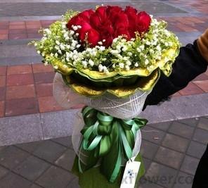 美丽人生/8寸圆形巧克力蛋糕:17枝玫瑰/为了你