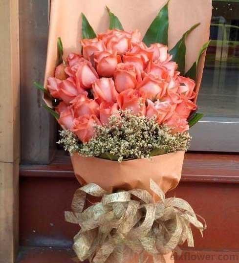 33枝粉色玫瑰/蓝天下的爱