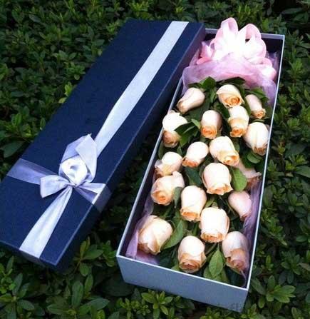 19枝香槟玫瑰礼盒/默默爱你