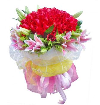 甜蜜/99枝红玫瑰+百合