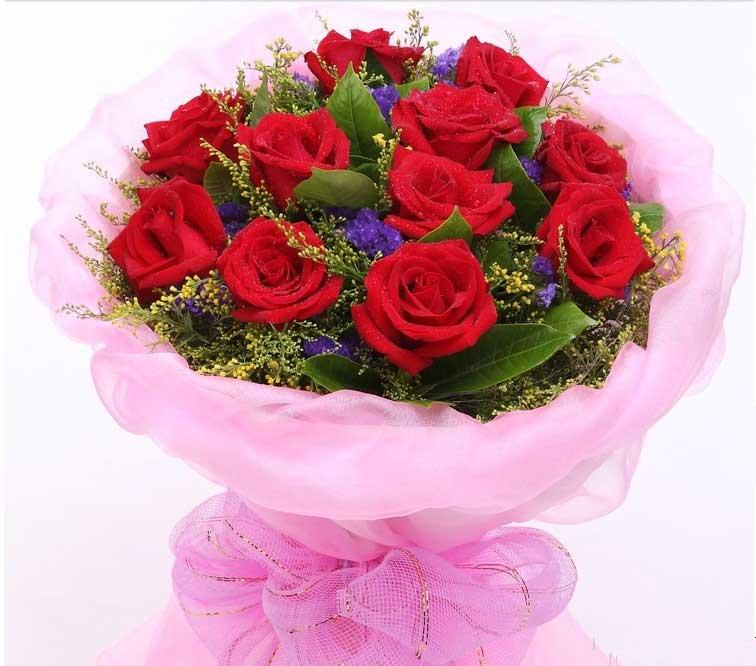 勿忘我/11枝红玫瑰花束