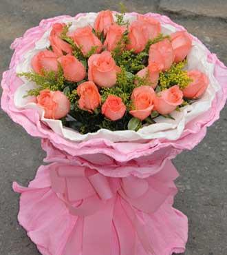 粉色爱恋/19枝粉玫瑰