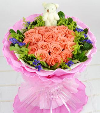 19枝粉玫瑰/玫瑰之吻