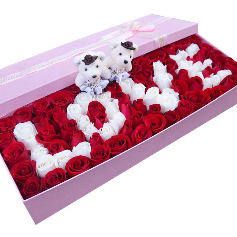 8寸水果蛋糕/希望你好好的:99枝玫瑰礼盒/爱你