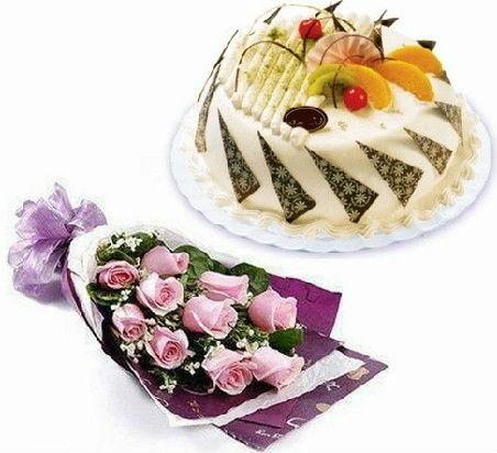 11玫瑰+大蛋糕组合花卉