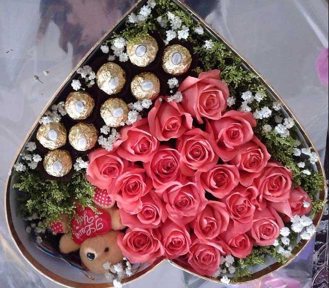 礼盒装/21枝玫瑰+巧克力