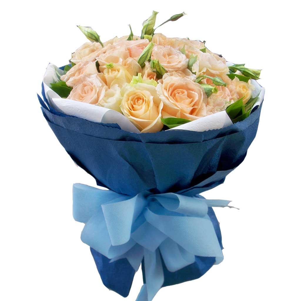 时刻想你/6枝玫瑰,2枝百合礼盒:天荒地老/19枝香槟玫瑰
