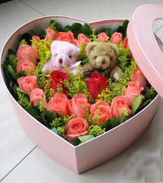 19枝粉玫花盒/甜蜜的味道