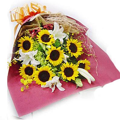 一生平安健康/28枝玫瑰:春光灿烂/8枝向日葵,3枝白百合