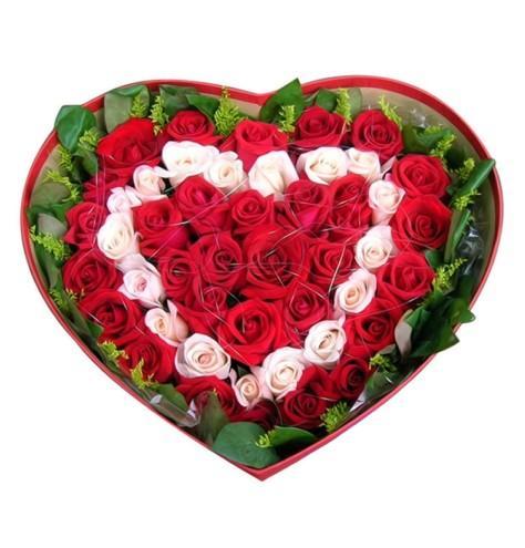 深呼吸/48枝玫瑰礼盒鲜花