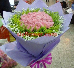 特别的问候/38枝玫瑰:真挚的情谊/21枝粉色康乃馨