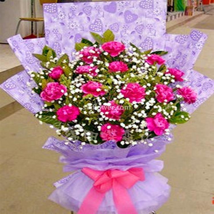 开心的祝愿/5枝向日葵:爱的魔力/18枝康乃馨