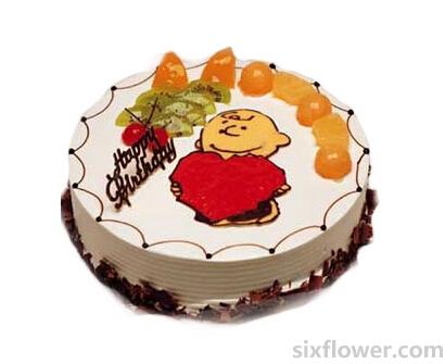 蛋糕/两两相依:2磅(8寸)鲜奶水果蛋糕/红红的一颗心