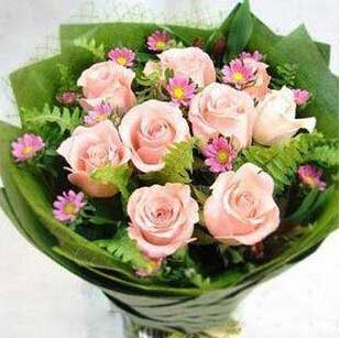 幸福快乐小天使/9枝粉色玫瑰