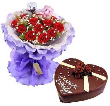 蛋糕/老师生日快乐:努力飞越/11枝玫瑰蛋糕组合