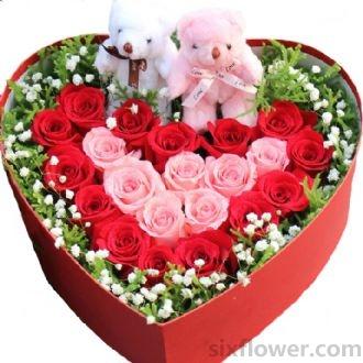 就想和你在一起/21枝盒装玫瑰