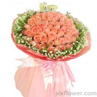 想你夜不能寐/21枝红色玫瑰:爱上你/66枝粉玫瑰