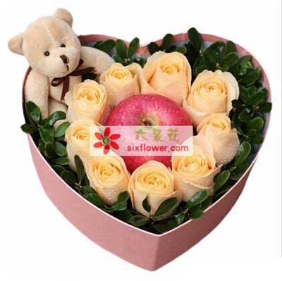 好运无限/3枝向日葵,9枝香槟玫瑰:平安夜快乐/玫瑰苹果礼盒