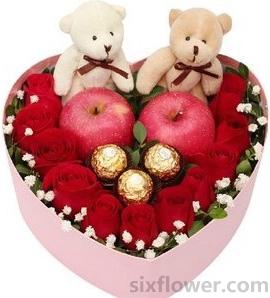 爱一生一世永不移/2只粉色绣球,11枝红色玫瑰:平安夜礼盒/11枝红玫瑰+苹果