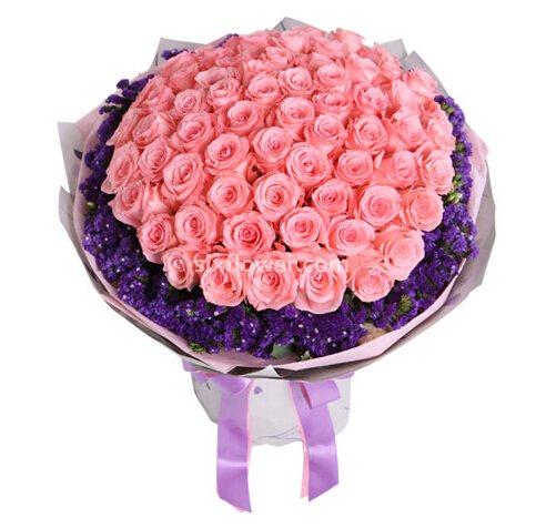 爱的五线谱/21枝紫色玫瑰绣球花:戴安娜玫瑰66枝/你是我今生最大的幸福