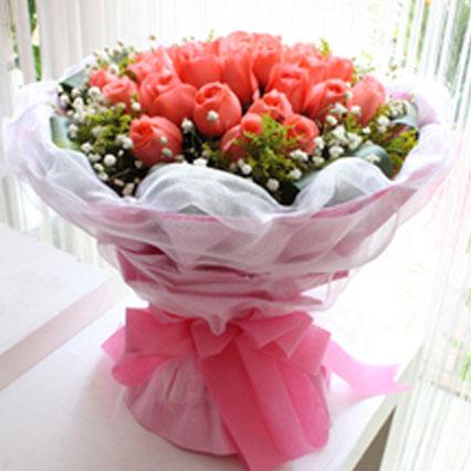 16枝黄玫瑰/爱无悔:情有独钟/21枝粉玫瑰