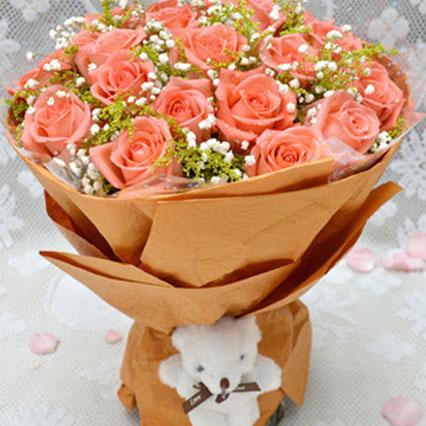 柔情密意/16枝粉色玫瑰