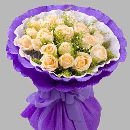 爱的温暖/19枝香槟玫瑰礼盒:只想与你携手到老/19枝香槟玫瑰
