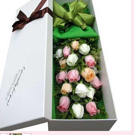 永远呵护你/17枝粉玫瑰巧克力:19枝三色玫瑰礼盒