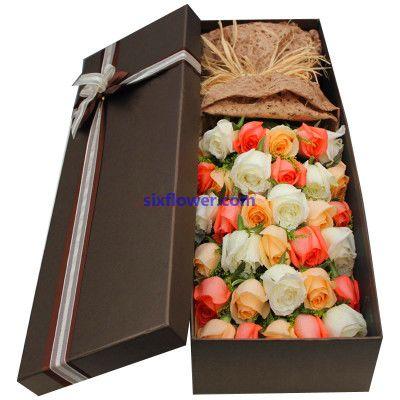 礼盒/33枝各色玫瑰