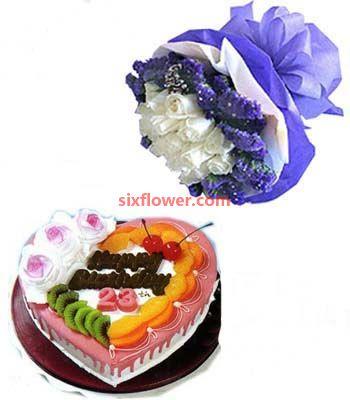 生日快乐/19枝白玫瑰+蛋糕