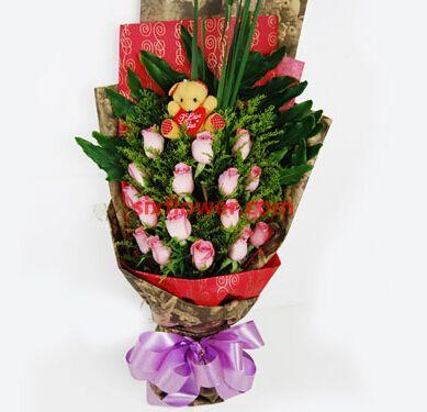 绿色的希望/18枝粉色玫瑰