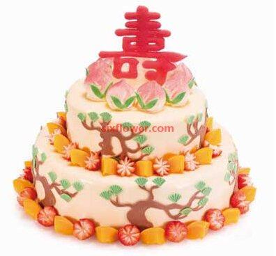 甜甜的笑/圆形双层鲜奶水果蛋糕:双层祝寿蛋糕
