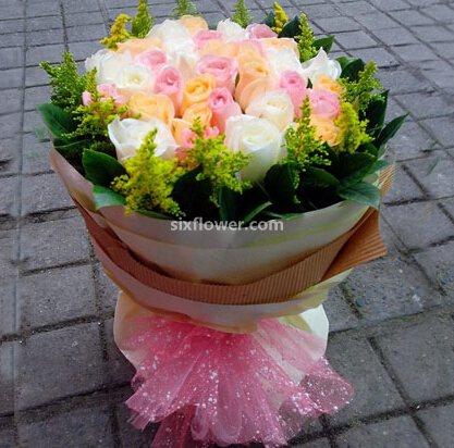 你是我的另一半/19枝粉色玫瑰礼盒:幸福的味道/24枝多色玫瑰