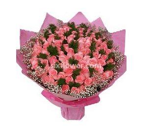 99枝粉玫瑰/心里的爱