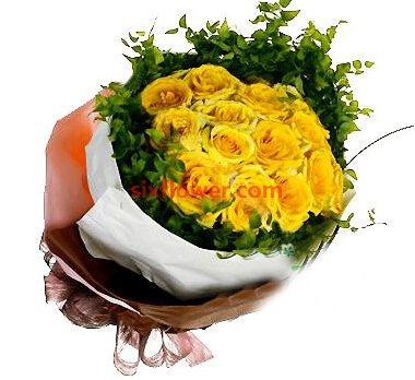 美丽人生/8寸圆形巧克力蛋糕:16枝黄玫瑰/心近情近