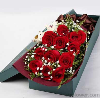心心相印的爱情/19枝粉色玫瑰:爱你一生一世/11枝花盒