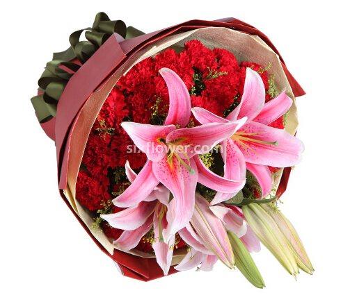 我爱您妈妈/5枝百合玫瑰:29枝红康乃馨/感恩之心
